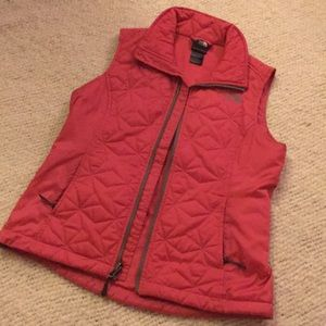 Pink, quilted North Face vest